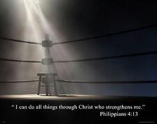 Religious Inspirational Poster Art Print 11X14 Boxing Philippians 4:13  RELG32
