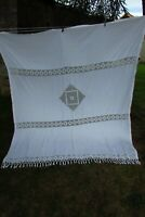 Antique French HUGE Hand Crafted Cotton Crochet Curtain Panel c1920s 6ft x 6ft
