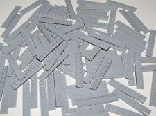Lego Lot of 100 New Light Bluish Gray Plates Modified 1 x 8 with Door Rail Parts