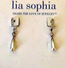 tone Bridal Evening Earrings Pierced Lia Sophia Rhinestone pearl Silver