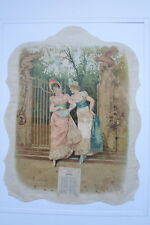 """CALENDRIER CHROMOLITHOGRAPHIE 1897 représentant le mois d'AVRIL """"JEUNES FEMMES"""""""