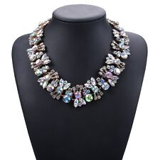 BEAUTIFUL ZARA  WHITE CLEAR FACETED CLUSTER STONES NECKLACE - NEW AURORA