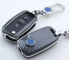 Carbon Fiber Black Key Cover For Volkswagen Golf 4 5 6 Polo Passat B5 Jetta MK5