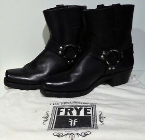 FRYE 8R BLACK LEATHER HARNESS BOOTS 77455 UK 9 US 11 WORN ONCE EXCELLENT