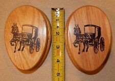 2 Vintage Wooden Magic Marble Towel Holder Horse & Buggy