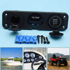 Dual USB Charger+ 12V Socket + Voltmeter + 3 Hole Panel Marine Car Boat Blue LED
