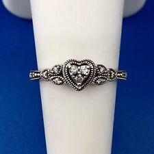 10K White Gold Diamond Heart Cluster Promise Sweetheart Engagement Ring