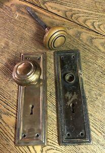 Antique Craftsman Wrought Brass  Doorknobs And Plates, c1920's, Split Spindle