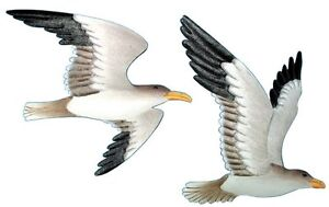 2 Metal Flying Gull Wall Plaques