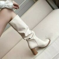 white knee-high slouchy faux leather boots square toe contrast riding warm boots