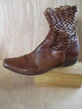 PRIMABASE US NAVY brown woven leather western cowboy boots 41 8 8.5