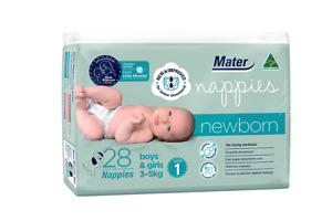 Mater Nappies Newborn size 1, 3-5kg Australian Made, hospital-developed, 28 pack