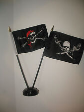 "Jolly Roger Red Hat Pirate w/ Brethren Coast Flag 4""x6"" Desk Set Black Base"