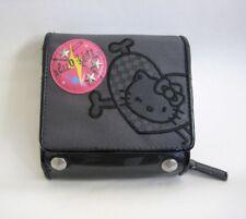 Sanrio Hello Kitty TriFold Wallet Black Cross Bones Coin Card Purse