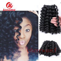 4 PACK 8'' Jump Wand Curl Braids Synthetic Crochet Twist Hair Extensions Black