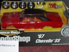 ERTL 1967 CHEVY CHEVELLE SS RED/BLACK BODY SHOP ASSEMBLY MODEL KIT 1/18 VHTF