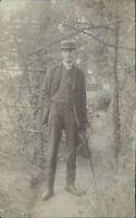 Postcard Edwardian gentleman A Dandy 3 piece Suit Straw Boater Walking Cane