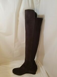 Stuart Weitzman Mainline Gray Stretch Suede Over the Knee Boots Women's Size 9.5
