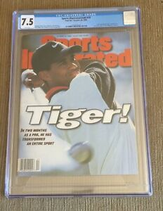 TIGER WOODS 1996 Sports Illustrated CGC 7.5 ROOKIE RC NEWSSTAND NO LABEL MINT