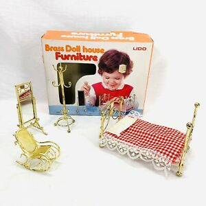 Miniature Dollhouse Furniture Brass Bed Bedroom Set 4 Pieces Vintage Lido 5559