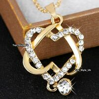 Crystal & Gold Necklace Wife Gifts for Her Women Girlfriend Daughter Mother J631