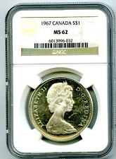 1967 $1 CANADA SILVER DOLLAR NGC MS62 FLYING GOOSE ON REVERSE - MS UNCIRCULATED