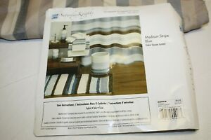 Saturday Knight Limite Fabric Shower Curtain Panel – Madison Stripe Blue Unused