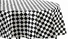 "BLACK & WHITE CHECKS 72"" ROUND  PLASTIC TABLECLOTHS  NASCAR  RETRO DINER"