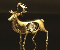 SWAROVSKI CRYSTAL ELEMENT STUDDED ELK FIGURINE ORNAMENT 24K GOLD PLATED