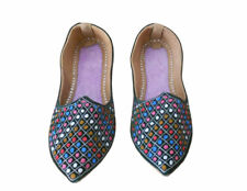 Women Shoes Indian Handmade Leather Ethnic Pointy Flats Green Jutties US 4.5