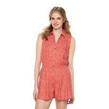 LAUREN CONRAD Women's Coral w/Arrow Print Button Front Twill Romper Size S $60!