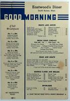 1930's Original Menu EASTWOOD'S DINER Restaurant South Boston Massachusetts