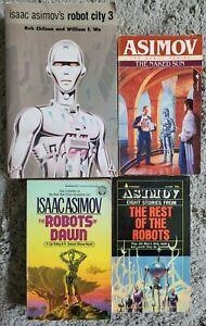 ISAAC ASIMOV PAPERBACK 4 BOOK LOT SCI FI FANTASY SCIENCE FICTION ROBOTS SOME VTG