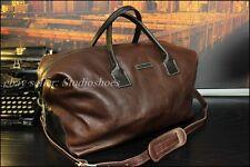 John Varvatos Italian Made XL Brown Leather Duffle Carryall Trave Bag Mens $1500