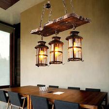 Rustic Wood 3 Heads Chandelier Industrial Ceiling Lamp Pendant Light Hanging