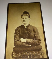 Antique Victorian Fashion Woman Ribbon Bow & Hat! Schenectady New York CDV Photo