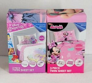 Minnie Mouse & Princess Kids 3-pc Twin Sheet Set ☆☆BUNDLE☆☆