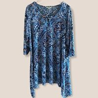 BeMe Tunic Top Sz Medium Plus Size Floral Ladies 3/4 Sleeve Loop Neck EUC
