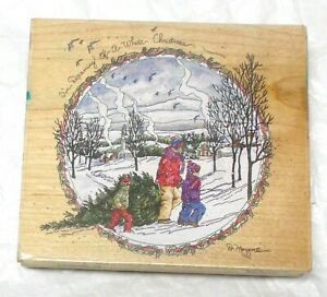 Winter Scene Stamps Happen I'm dreaming of a White Christmas Holidays scenic mnt