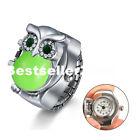 Unisex Flip-Up Cover Owl Finger Quartz Watch Stainless Steel Elastic Ring Watch
