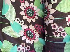 Fabric Cotton Silk Viole Floral Print Black, Magenta, Teal Anthropologie