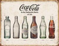 Coke Bottle Evolution Vintage Retro Tin Metal Sign 13 x 16in