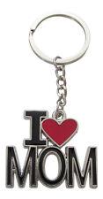 """Porte-clés inscription """"I love mom"""", """"Je t'aime maman"""" avec coeur rouge, acier."""