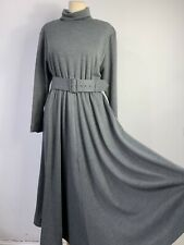 Vintage Wool Blend Country Casuals Dress Size 12/14 Grey 80s Polo Neck Flare