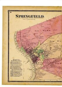 1870 map of Springfield, Mass. from Atlas of Hampden County, with family names