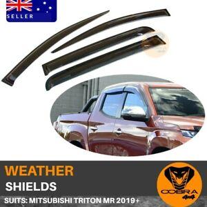 Weather Shields SUIT Mitsubishi Triton MR 2019 Onwards Protection Black