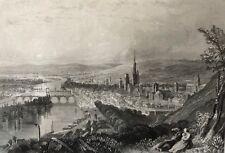 Rouen lithographie de 1857 Rouargue XIXe