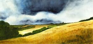 Stormy  Landscape, Thunder Clouds Skyscape Watercolour Print from an Original
