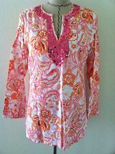 Mercer Madison womens tunic pink sequin Indian long sleeve 100% white linen sz M