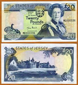 Jersey, 20 pounds, ND (2000), QEII,  P-29, UNC